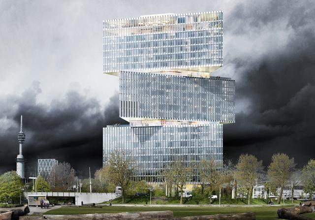 OMA設計的荷兰新酒店即将完工,建築由三个可移动的三角体量组成-6.jpg