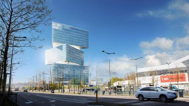 OMA設計的荷兰新酒店即将完工,建築由三个可移动的三角体量组成-4.jpg