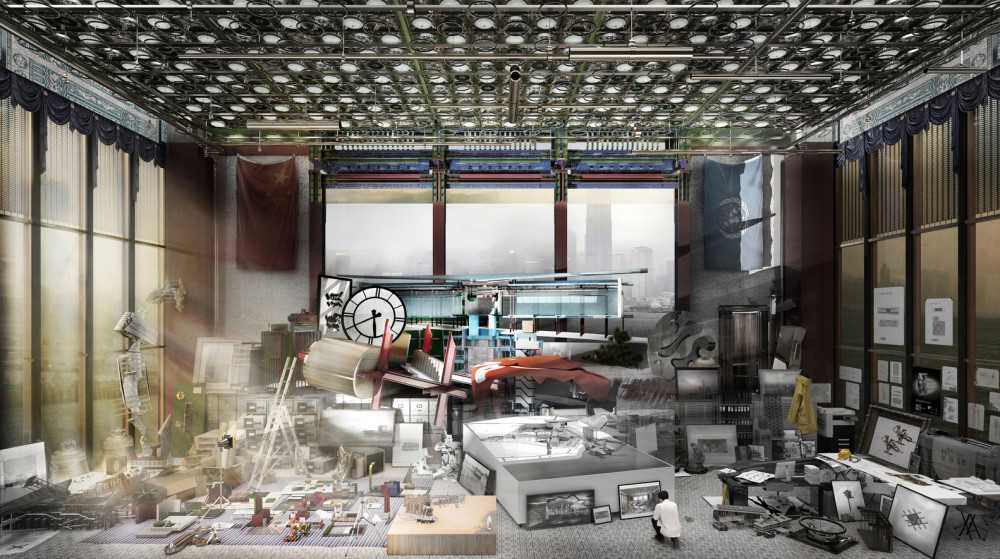 Yat_Chi_Tse_-_Perspective_of_various_designs_for_Hong_Kong_Palace_Museum_as_if_they_were_models_in_a_site_office.jpg