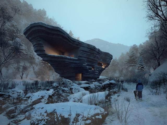 """""""山谷音乐厅""""封顶,建築犹如一块巨石-1.jpg"""