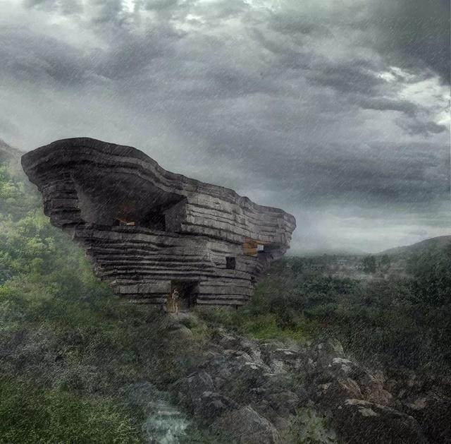 """""""山谷音乐厅""""封顶,建築犹如一块巨石-6.jpg"""