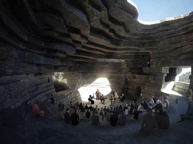 """""""山谷音乐厅""""封顶,建築犹如一块巨石-8.jpg"""