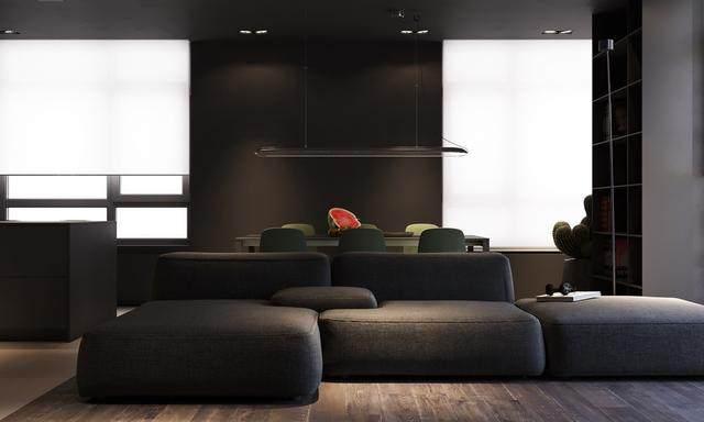 大气奢华的住宅空间設計,以深灰色的现代软装设计为基础-1.jpg
