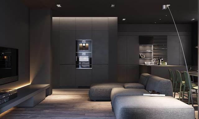 大气奢华的住宅空间設計,以深灰色的现代软装设计为基础-2.jpg