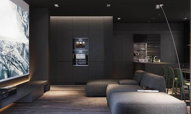 大气奢华的住宅空间設計,以深灰色的现代软装设计为基础-3.jpg