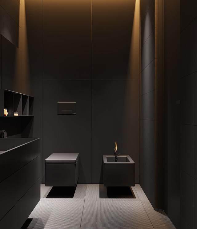 大气奢华的住宅空间設計,以深灰色的现代软装设计为基础-15.jpg