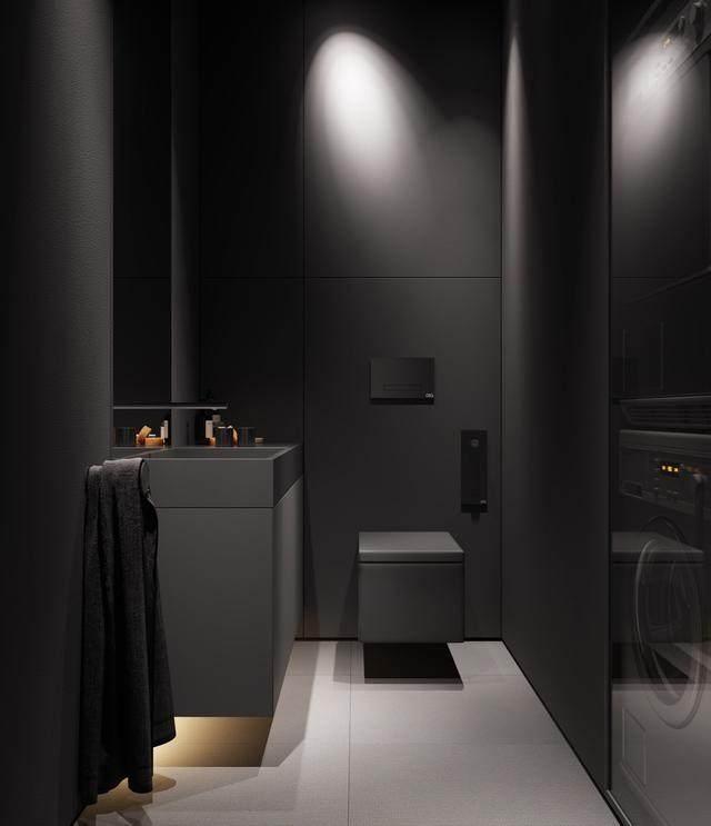大气奢华的住宅空间設計,以深灰色的现代软装设计为基础-19.jpg