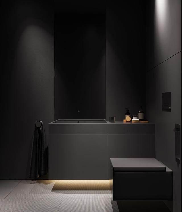 大气奢华的住宅空间設計,以深灰色的现代软装设计为基础-17.jpg