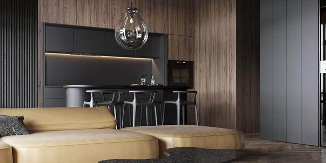 大气奢华的住宅空间設計,以深灰色的现代软装设计为基础-25.jpg