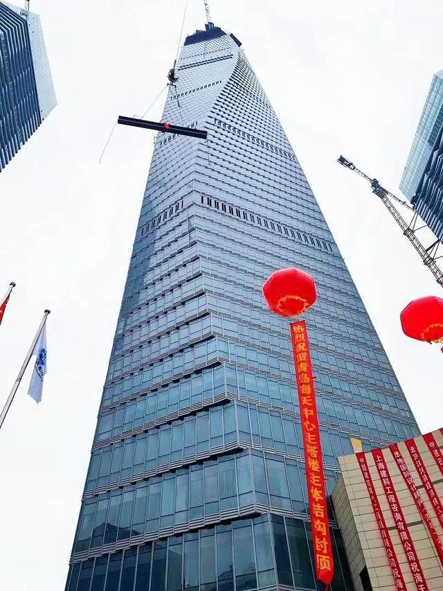 青岛第一高楼——青岛海天中心结构封顶,建築呈现'六边形'設計-2.jpg