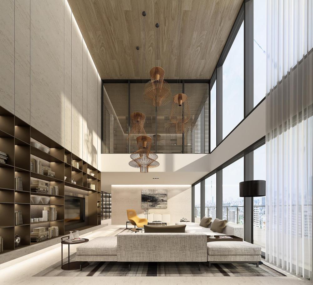 李玮珉 | 深圳汉京九榕台丨两套顶层复式+别墅+庭院丨效果图+设计方案丨