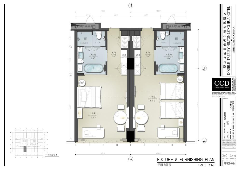 CCD   深圳龙华逸林希尔顿酒店   设计方案+效果图+施工图+物料  _06客房平面.jpg
