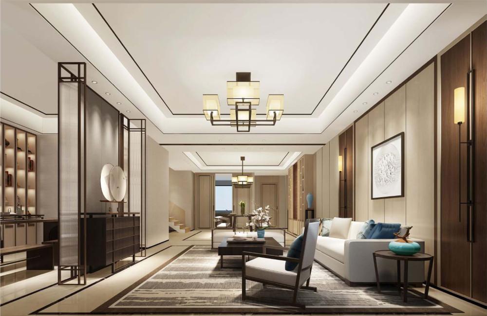 柏舍设计 | 新中式别墅样板丨效果图+3D模型+方案+施工图+物料+水电CAD图纸