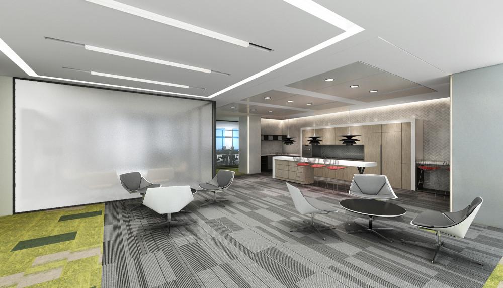 美国NJSP | 南京江北新区中国银行办公室 | 施工图+效果图+物料表+家具设计 |