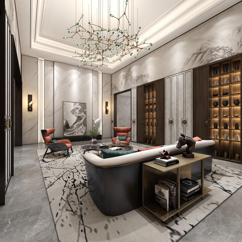 新中式轻奢别墅 | 施工图+概念方案+软装方案+效果图 |