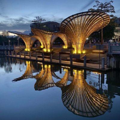 中国佛山黄龙滨水竹廊(2020)竖梁社建筑