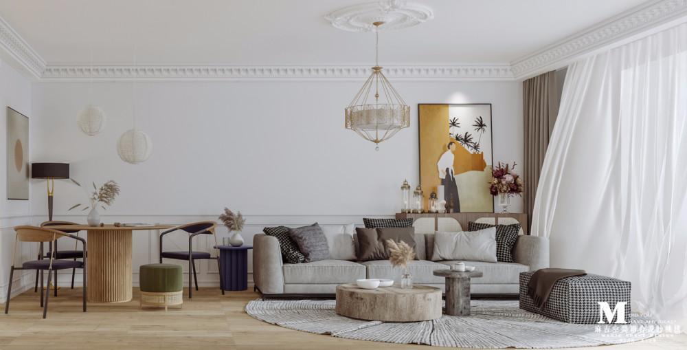 麻吉设计|法式——御景城效果图_客餐厅沙发视角