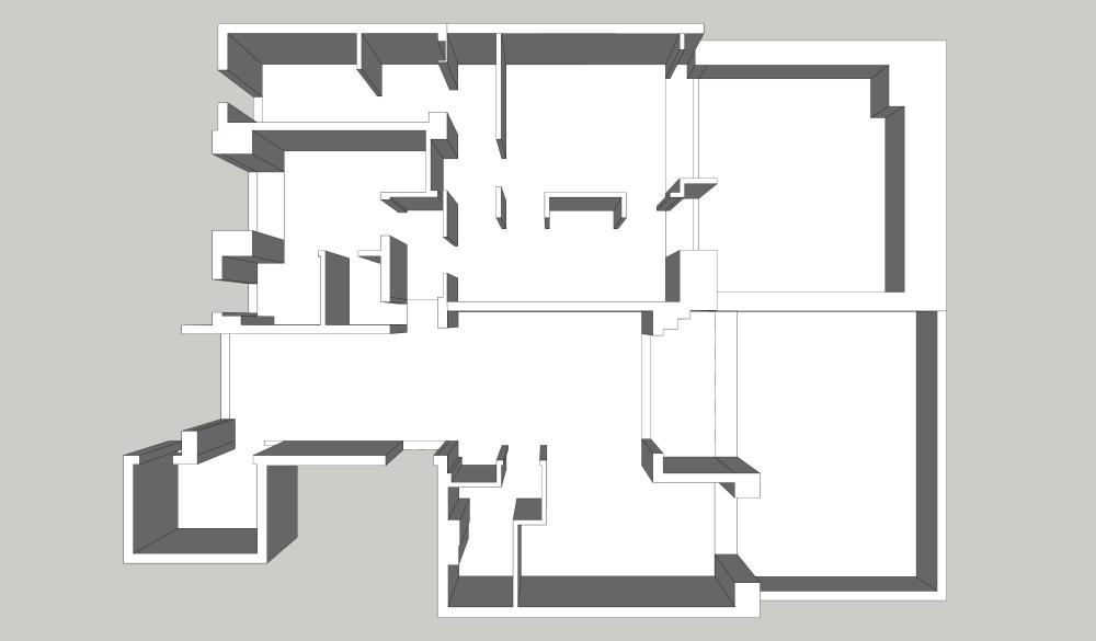 麻吉设计|意式——置地双玺效果图_一层新建墙体示意图