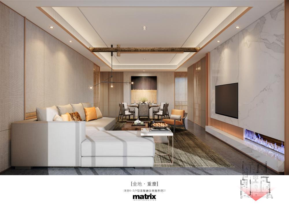 002金地重庆弹子石项目洋房6-3户型样板房-A客餐厅效果图01.jpg